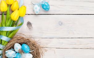 Easter, spring, tulips, flowers, eggs, тюльпаны, Пасха