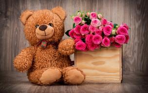 праздник, поздравления, мишка, 8 марта, цветы