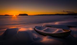 снег, зима, ночь, лодка