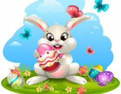 фон, кролик, пасха, яйца
