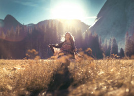 трава, луг, солнце, накидка, горы
