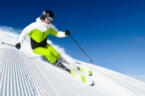 горы, снег, лыжник