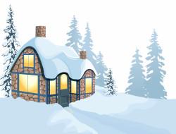 лес, снег, дом
