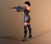 оружие, фон, взгляд, девушка