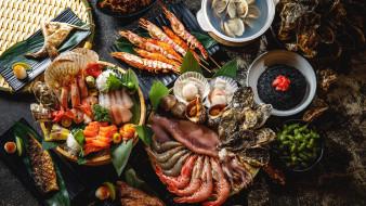 обои для рабочего стола 2048x1152 еда, рыбные блюда,  с морепродуктами, криветки, рыба
