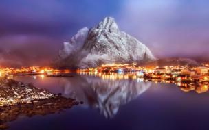 огни, горы, свет, утро, фьорд, зима, туман, отражения, дымка, городок, вечер, поселок, скалы, Норвегия