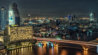 bangkok, города, бангкок , таиланд, огни, ночь