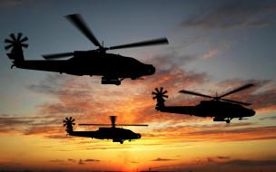 apache, авиация, вертолёты, сумерки, boeing, силуэт, боевые, вертолеты, апач, attack, helicopters