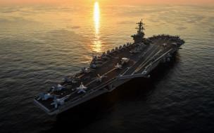 USS Theodore Roosevelt, закат, море, aircraft carrier, CVN 71