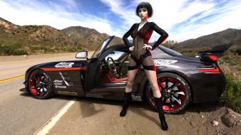 фон, взгляд, девушка, автомобиль
