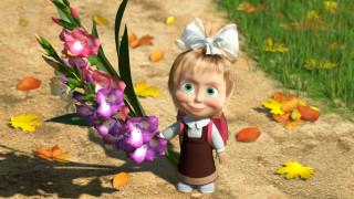 Маша, портфель, осень, трава, листья, бант, цветы