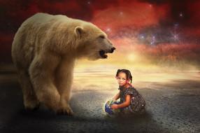 девочка, photoshop, digital, manipulation, creative, fantasy, artwork, art, artistic, цифровое искусство, белый медведь