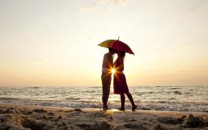 разное, мужчина женщина, на, закате, пляже, стоит, под, зонтом, влюбленная, пара