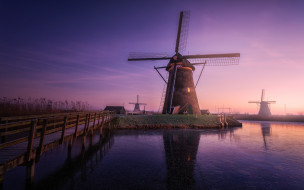 вечер, Ветряные мельницы, дымка, Нидерланды, утро