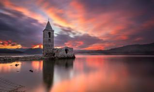 руины, озеро, закат