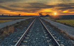 природа, закат, железная дорога