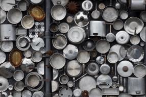 разное, посуда,  столовые приборы,  кухонная утварь, фон, висячие, горшки, приборы