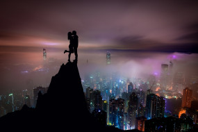 разное, мужчина женщина, город, поцелуй, вид, ночь, парень, небоскребы, девушка, влюбленные, небо