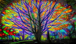 сказочный лес, свечение, игра цвета, ветви, дерево, картинка, рендеринг, ночь