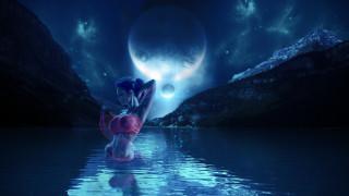 луна, озеро, фон, девушка