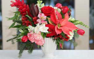 тюльпаны, гвоздики, молочай, Розы, альстремерия