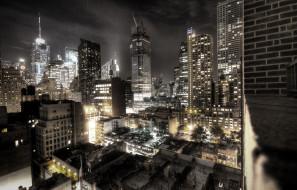 города, нью-йорк , сша, небоскребы, ночь, огни, здания