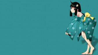 аниме, bakemonogatari, фон, взгляд, девушка