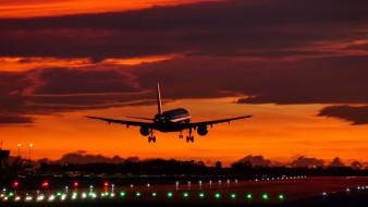 airport, sunset, boeing 787-10, вечерняя заря, landing, aircraft, аэропорт, barcelona, пассажирский, барселона