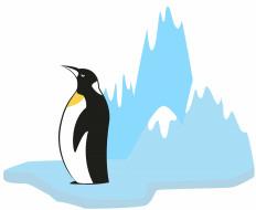 лед, фон, пингвин