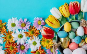 праздничные, пасха, хризантемы, цветы, tulips, тюльпаны, easter, ромашки, happy, colorful, eggs, flowers, яйца, крашеные, spring, decoration, весна