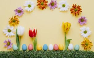 праздничные, пасха, яйца, крашеные, decoration, happy, хризантемы, tulips, тюльпаны, easter, colorful, трава, весна, цветы, eggs, spring, flowers