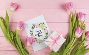 праздничные, день матери, with, love, spring, розовые, букет, tender, gift, romantic, тюльпаны, fresh, цветы, flowers, подарок, tulips, pink, wood