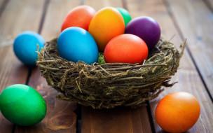 праздничные, пасха, корзина, decoration, colorful, wood, easter, яйца, крашеные, spring, happy, eggs