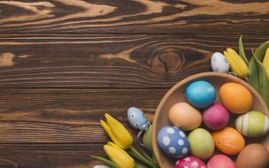 праздничные, пасха, весна, decoration, colorful, wood, easter, тюльпаны, tulips, eggs, яйца, крашеные, spring, happy, flowers, цветы