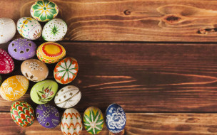 wood, colorful, decoration, Easter, Пасха, яйца крашеные, eggs, spring, Happy