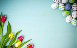 праздничные, пасха, весна, wood, decoration, spring, happy, яйца, крашеные, tulips, тюльпаны, easter, цветы, eggs, flowers, colorful