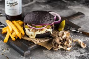 Бургер, картофель фри, грибы
