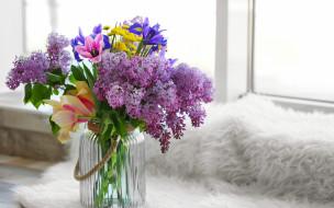 сирень, lilac, букет, ваза, flowers, spring, цветы, весенние