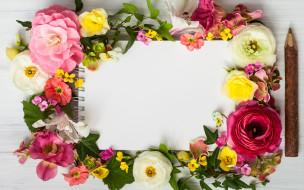 flowers, цветы, frame, floral, композиция, wood, pink