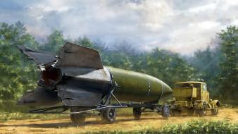 обои для рабочего стола 1920x1080 рисованное, армия, дальнего, действия, третий, рейх, оружие, возмездия, фау-2, v-2, hanomag, vergeltungswaffe-2, первая, в, мире, баллистическая, ракета, ss100