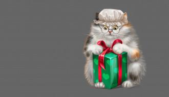 чепец, Game, коробка, капор, детская, Alesya Lukyanenko, кошка, арт, подарок, очки