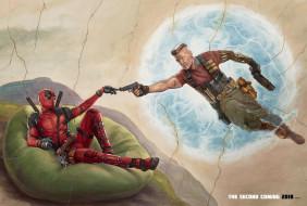 Ryan Reynolds, фантастика, Josh Brolin, Deadpool, Deadpool 2, Дэдпул 2, Джош Бролин, Райан Рейнольдс, MARVEL, костюм, оружие, Cable, Nathan Summers, катаны, арт