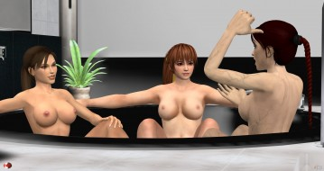 эро-графика, 3д-эротика, взгляд, девушки, грудь, фон