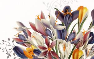 векторная графика, цветы , flowers, цветы, фон, текстура, вектор