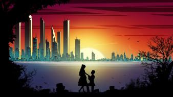 векторная графика, город , city, двое, романтика, город, силуэты, закат