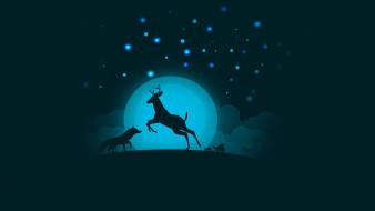векторная графика, животные , animals, олень, луна, волк