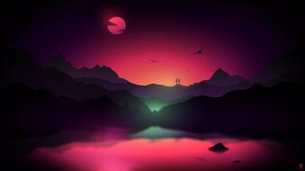 темно-фиолетовый, желтый, mans, изумрудный, вода, звезды, mounts, свечение, небо, stars, люди, розовый, pink, purple, горы