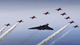 vulcan bomber, авиация, textron airland scorpion, построение, небо