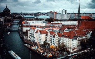 города, берлин , германия, панорама