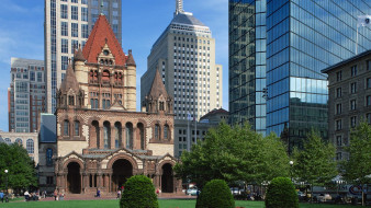 города, бостон , сша, trinity, church